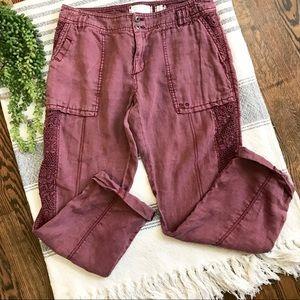 ANTHRO HEI HEI Lace Paneled Linen Cargo Pants